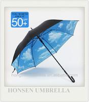 UPF>50 Anti-UV Leather Curved Handle Blue Sky Umbrella
