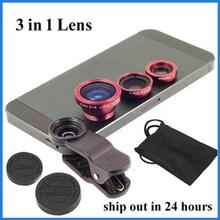 Fisheye lens clip lens phone camera fisheye wide macro universal clip 3 in 1 lens for mobile phone