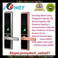 2015 Best Selling NEW Biometric Fingerprint Door Lock Alloy Metal Casing with touch screen keypad