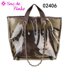 2013 New design made in China transparent jelly tote bag in los angeles