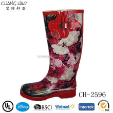 big flower women high welly boot