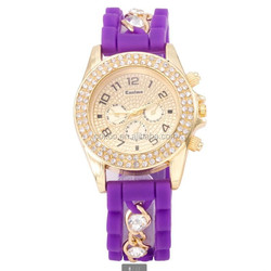 wholesale watches wristwatches geneva new model fashion Candy silicone watch crystal diamond mixed colour