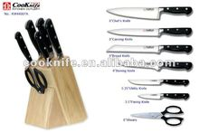 8pcs Plastic Handle Kitchen Knife Set With Block kitchen play set