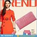 2015 El último diseño en monedero de señoras, fabricante de carteras genuinas de piel de cocodrilo ,patrón de cartera de cuero hecho a mano