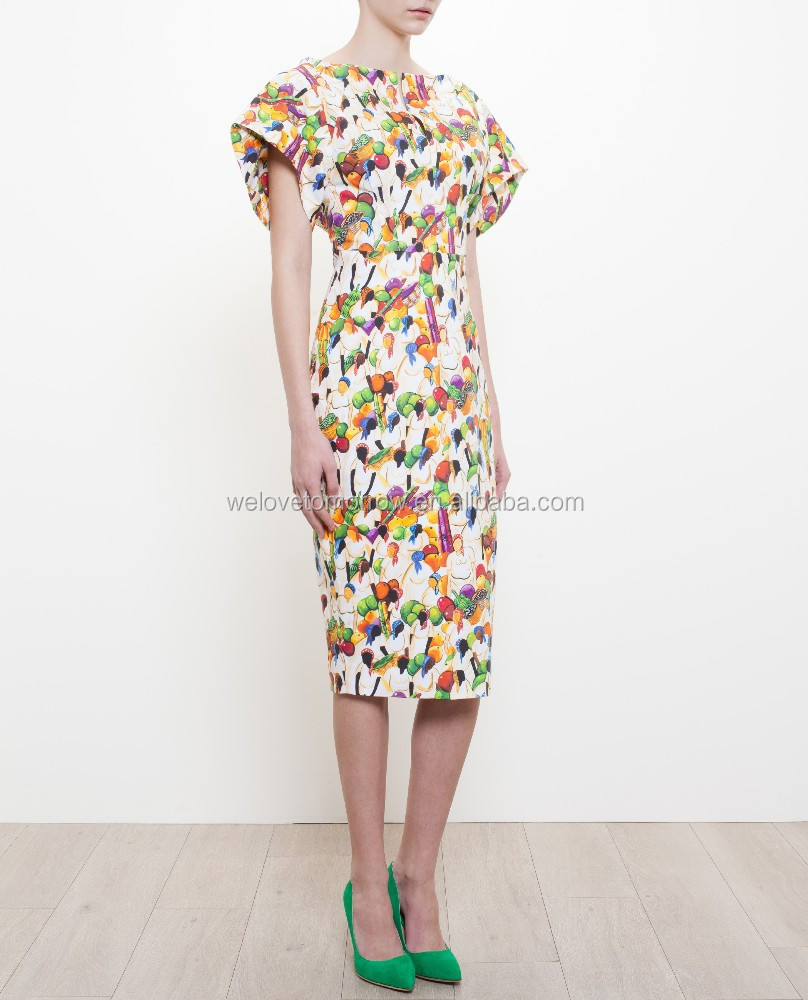 High Quality Fabric Unique Design Manufacturer Women Print Dress 2017 Spring Summer Collection