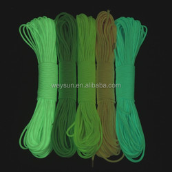 10pcs Glow in the dark Luminous Paracord 550 Parachute Cord Lanyard Rope 100 ft (31m) 9 Strands Cores DHL Freeshipping