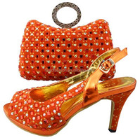 W332 orange fshion design lady evening shoes with matching bags