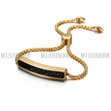 Acero inoxidable pulsera de oro broche de mujeres hipanema NSB704STGCBKZD