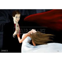 100% Hand made dance couple painting on canvas wall decor art,pale face