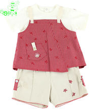 Children's wear three-piece suit with t shirt gallus top and shorts original brand design OEM chinese garment factory