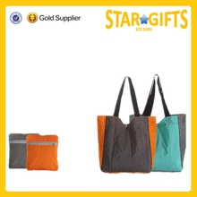 Alibaba China Contrast color nylon shopping tote bag for ladies