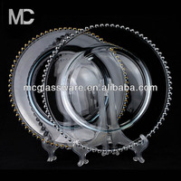 "Super Quality 13"" Beaded Charger Plate for Wedding and Events Glassware"
