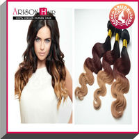 Ombre 3T body wave peruvain hair weft human hair raw material