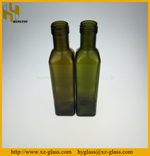 250ml Dark green square shape olive oil bottle with aluminum cap