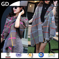 GDKK0058 fashion Fluorescent color line check wool blanket scarf in stock