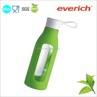600ml high quality cheap sports borosilicate glass water bottle with handle
