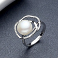 Alta qualidade anel de casamento material de 925 banho de ródio prata inlay pérolas da água fresca venda quente