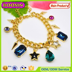 Fashion lady's Austrian Sapphire crystal charm bracelet/Golden plated crystal rosary bracelet #31484