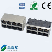 2x4 port Shield Side entry 8 Pin RJ45 Connector
