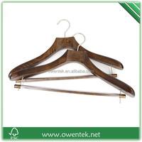 Antique deluxe wooden suit hanger with notches , top quality custom wooden hanger