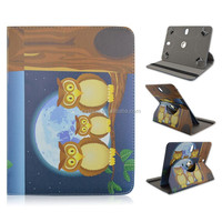 Night Owl & Moon Folio Stand Leather Case For Universal 7/8/10 inch Tablet PC,Rotate 360 Flip PU Cover, Factory Direct Sale