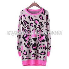venta al por mayor mujer impreso leo pard largo suéter suéter vestido de color rosa de la fábrica de prendas de punto