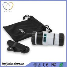 Universal Smartphone 8X Zoom Magnifier Optical Telescope Manual Focus Telephoto Mobile Phone Camera Lens+0.4X wide angle lens