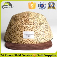 Stylish Mens Custom Leopard Print 5 Panel Caps