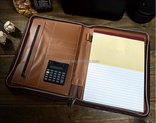 New design business leather portfolio with zipper closure