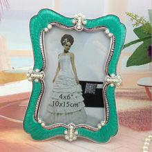 Europe vintage photo frame family / wedding / sexy photo frame green abs plastic photo frame with pearl