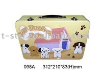 Tin lunch box with handle and lock