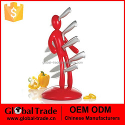 5-Piece Kitchen Knife Block Set with Five Knives with Red Holder H0152