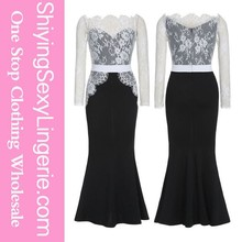 Black Lace Long Maxi Prom Formal sexy free prom dress