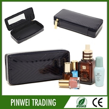 pu synthetic leather for bag cosmetic bag with mirror
