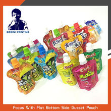 BOSINI / printed all kinds of safey food grade stand up juice and jelly pouch with spout packaging bag