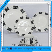 20PCS black and white dinnerware/black ceramic dinnerware/arts and crafts dinnerware