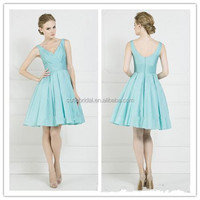 New Style V Neck Sleeveless Knee Length Bridal Evening Party Prom Dress Gown