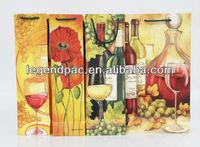 Customized design and color printintd single wine glass bag