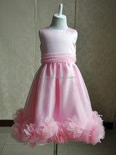 2015 lovely pink sleeveless princess dress/baby girls chiffon prom party wear dress/children birthday dress with flower bottom