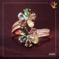 New Flower Gemstone Gold Ring Jewelry,Diamond Adjustable Rose Gold Ring Jewelry,Hot Sale Gold Jewelry Tourmaline 925 Silver Ring