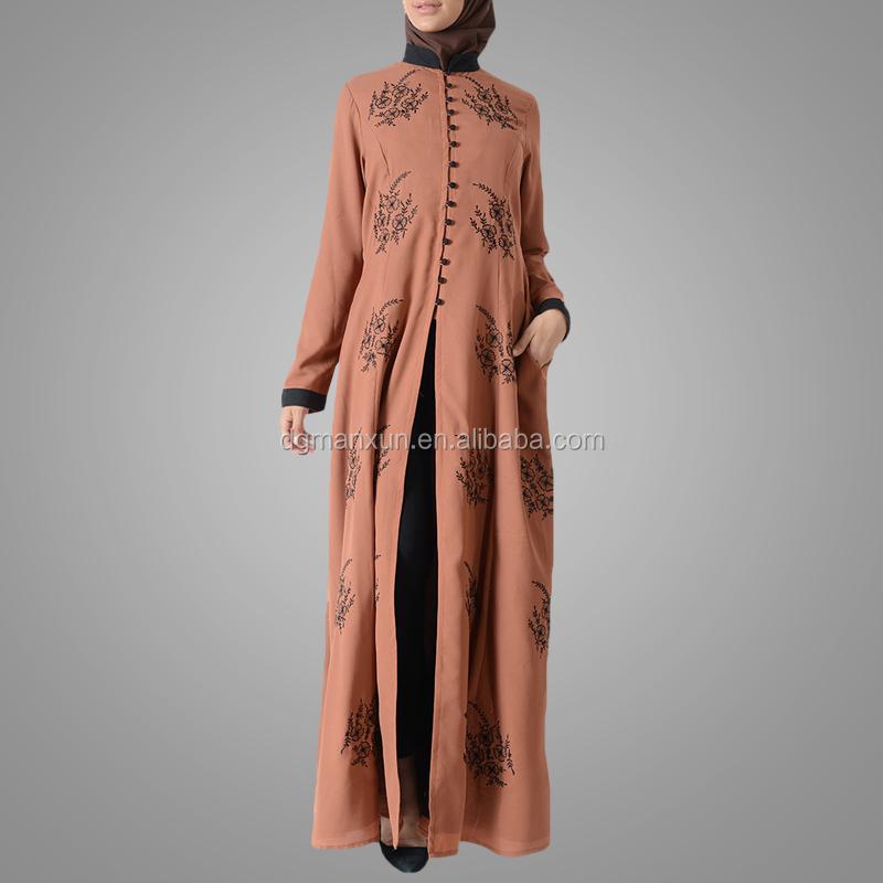 Latest embroidered muslim front open abaya islamic clothing for women turkish cardigan (4).jpg