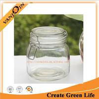 Clear Glass Jars Canister 500ML Glass Canning Jar with Metal Clip