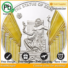 Custom collectible full color painted the statue of Zeus souvenir coin