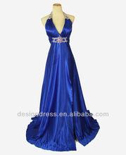 Real Sample Floor-length Backless Sexy V-neck Blue Halter Stretchy Evening Dress 2013