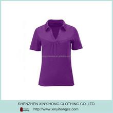 Eco Friendly Bamboo UV Protective V Neck Polo Shirts For Woman