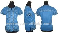 nice embroidery OEM lace blouse--fashion design women clothing of 2013