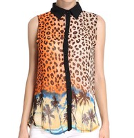 Wholesale Classical Printng Front Open Ladies Sexy Shirt and Blouses