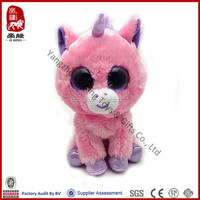 Big eyes series animal ICTI Sedex WCA SA800 audit factory stuffed pink unicorn plush toy