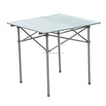 """Roll Up Top Aluminum Camp Portable Camping Picnic Table w/ Carrying Bag - 27"""" x 27"""" - Silver"""
