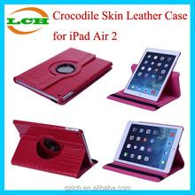 Crocodile Skin Rotatable Kickstand Leather Phone Case for iPad Air 2